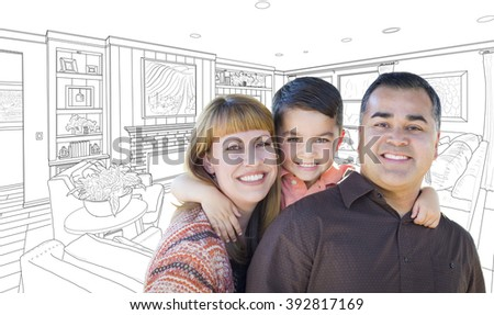 Happy Young Mixed Race Family Over Custom Living Room Drawing On White. - stock photo