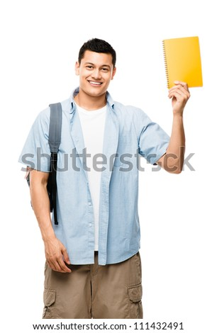Happy young mixed race student wearing back pack isolated on clean white background