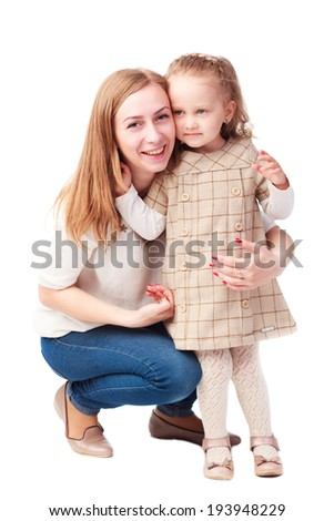 Happy young mother and laughing kid isolated on white background - stock photo