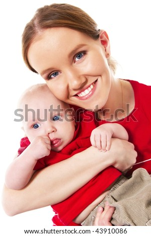 happy young mother holding her baby boy - stock photo