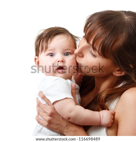 happy young mother kiss cute smiling baby, isolated on white - stock photo