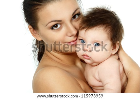 happy young mother with cute baby, isolated on white background