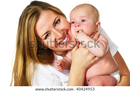 happy young mother with her baby boy; closeup faces