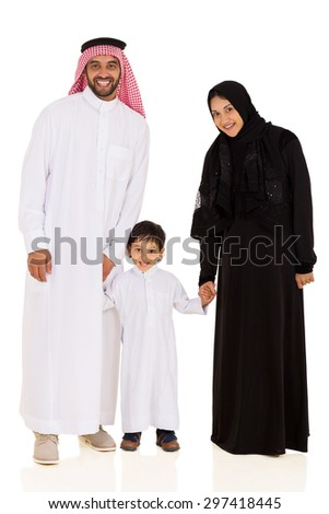 happy young muslim family standing together isolated on white - stock photo