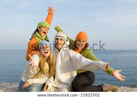 happy young people - stock photo
