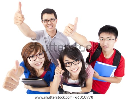Happy young people showing thumbs up and isolated on white background - stock photo