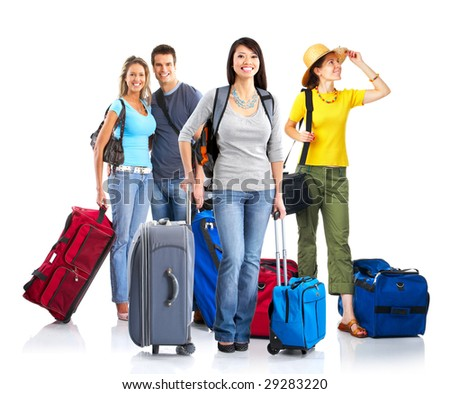 Happy young people tourists. Isolated over white background - stock photo