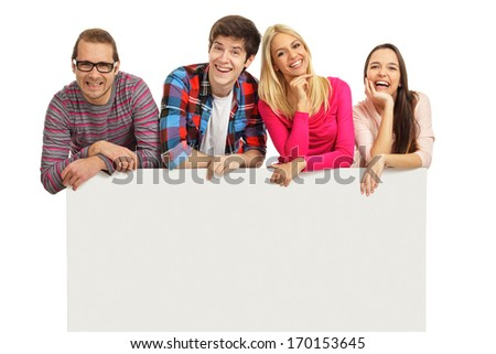 Happy young people with a blank banner