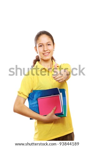 Happy young positive student showing thumb up.Isolated on white background - stock photo