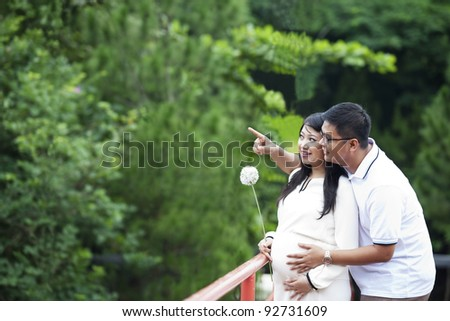 Happy young pregnant couple looking at nature - stock photo
