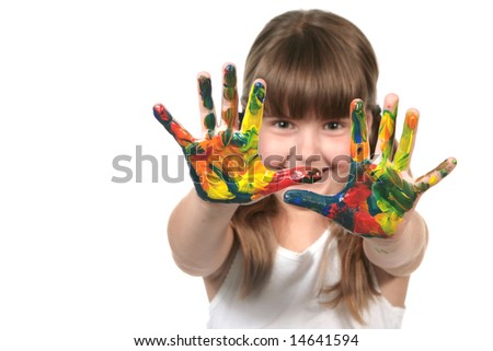 Happy Young Preschool Child With Paint All Over Her Hands - stock photo