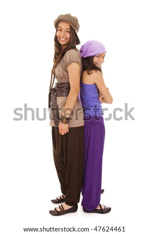 happy young sisters having fun together - stock photo