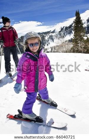 Happy Young Skier Learning to Ski - stock photo