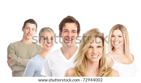 Happy young smiling people. Over white background.