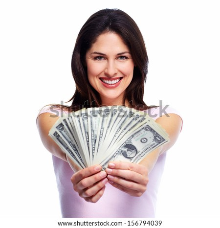 Happy young smiling woman holding cash, isolated over white background - stock photo