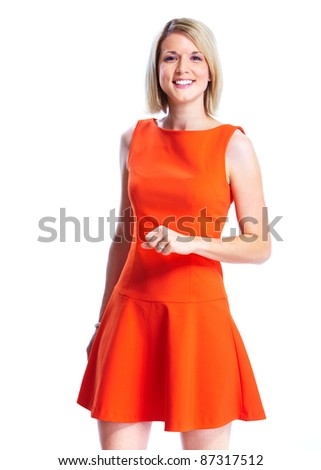Happy young smiling woman in red dress. Isolated over white background. - stock photo