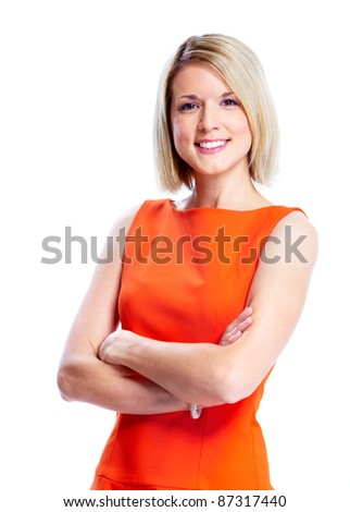 Happy young smiling woman. Isolated over white background. - stock photo