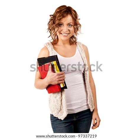 Happy young student girl holding books, study, education, knowledge, goal concept - stock photo