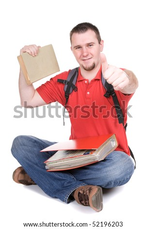 happy young student. over white background