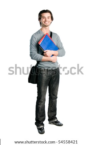 Happy young student standing full length with books and notes isolated on white background - stock photo
