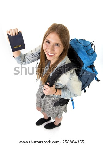 happy young student tourist woman carrying backpack showing passport in holidays trip and vacation backpacker tourism concept isolated on white background