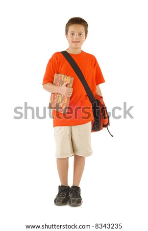 Happy young student with a messenger bag and a book; isolated on white - stock photo