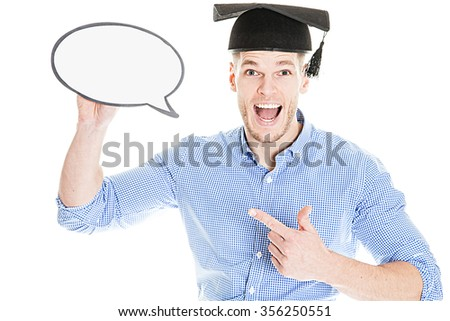 Happy Young Student with speech bubble - isolated on white - stock photo