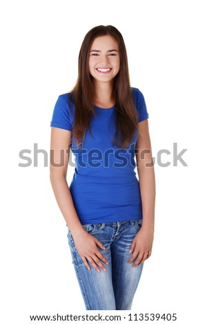 Happy young student woman, isoalted on white background - stock photo