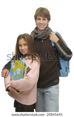 Happy young students isolated against a white background