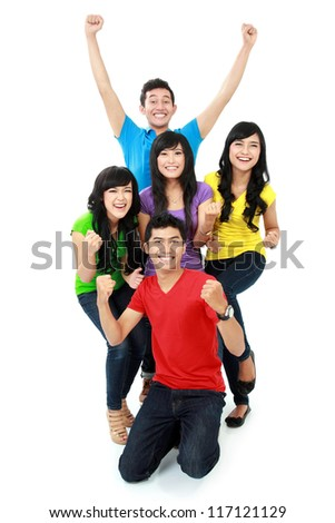 happy young teenager together isolated over white background - stock photo