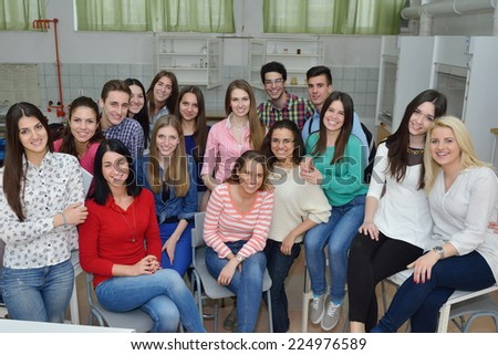 happy young teens group in school have fun an learning lessons