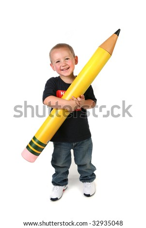 Happy Young Toddler Schoolage Child Holding Large Pencil - stock photo