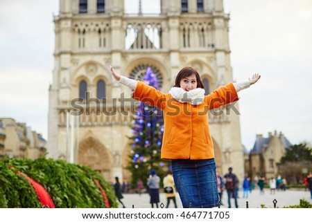 Happy Young Tourist Paris On Winter Stock Photo 303439547 ...
