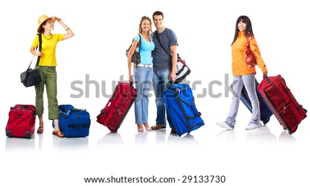 Happy young tourists. Isolated over white background