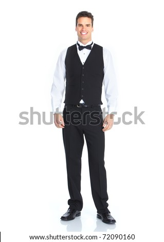 happy young waiter represent hospitality - on a white background