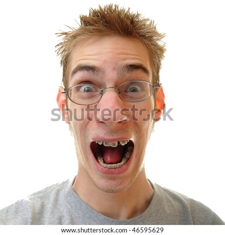 Happy young white Caucasian man shouting for joy isolated on white background.