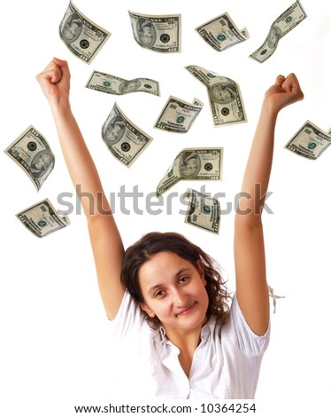 Happy young woman and dollar banknotes - stock photo