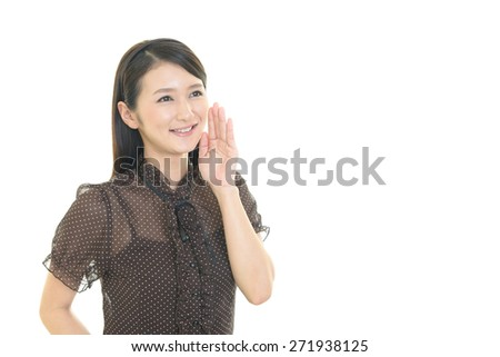 Happy young woman cheering - stock photo