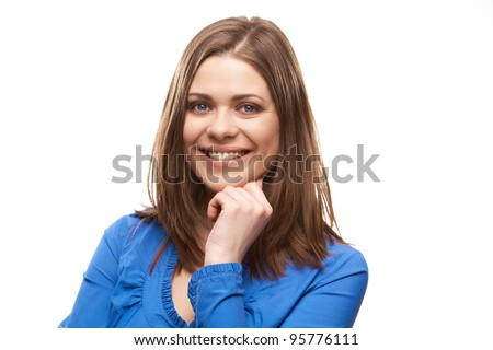 Happy young woman close up portrait white background isolated. Casual female person. - stock photo