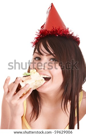Happy young woman eating cake. Isolated. - stock photo