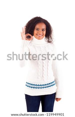 Happy young woman expressing positivity sign, isolated over white