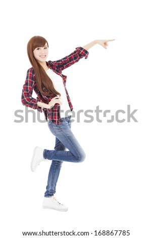 happy young  woman hand pointing something  - stock photo