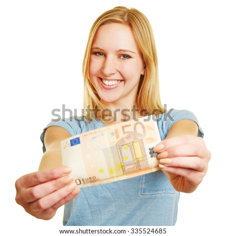 Happy young woman holding a 50 Euro bill in her hands