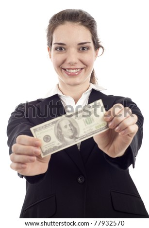 Happy young woman holding a  hundred  $100 dollar bill isolated over white background - stock photo