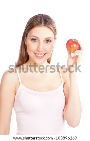Happy young woman holding apple isolated on white background. - stock photo