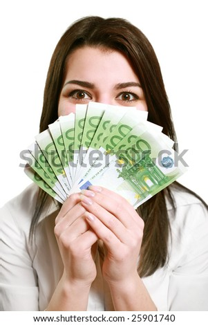 Happy young woman holding money isolated on white - stock photo