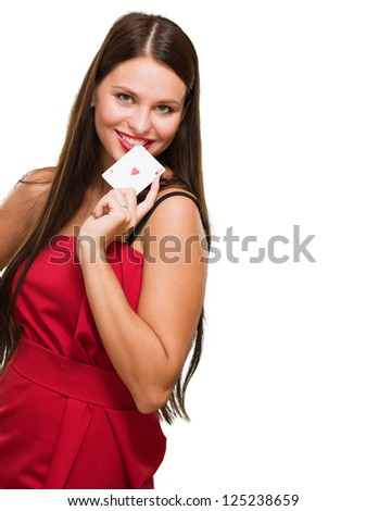 Happy Young Woman Holding Poker Card Isolated On White Background - stock photo