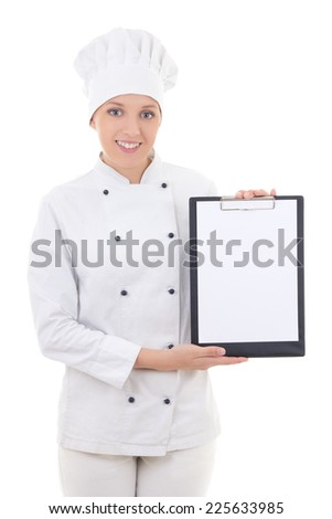 happy young woman in chef uniform holding clipboard with copy space isolated on white background - stock photo