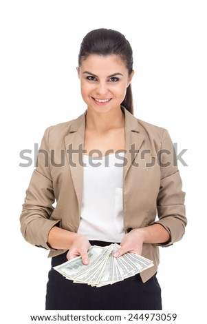Happy young woman is holding dollar currency banknote. Finance savings concept. On the white background.