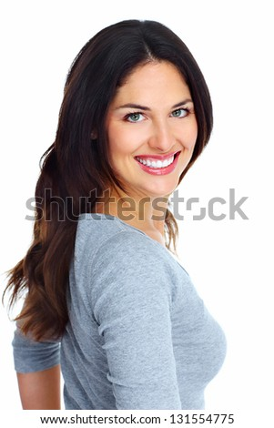 Happy young woman. Isolated on white background.